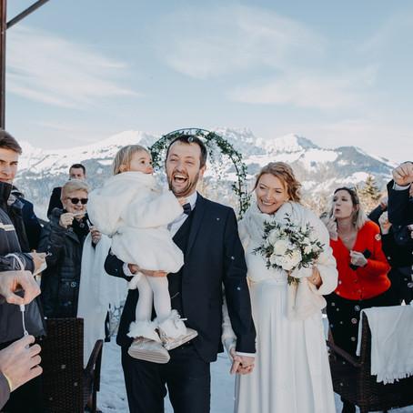Un mariage en petit comité en montagne à Crest-Voland