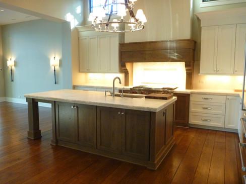 Custom Kitchen with Fancy Chandelier