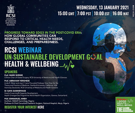 RCSI Webinar: UN Sustainable Development Goal 3 – Good Health and Well-being