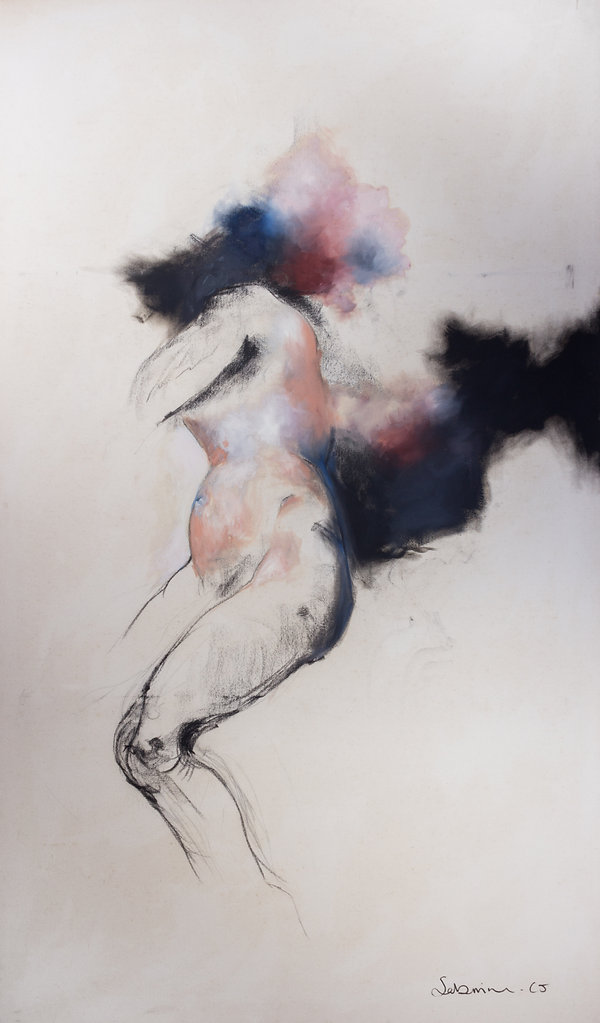 SELF-CENSORING series, charcoal and oil paint on canvas,2011