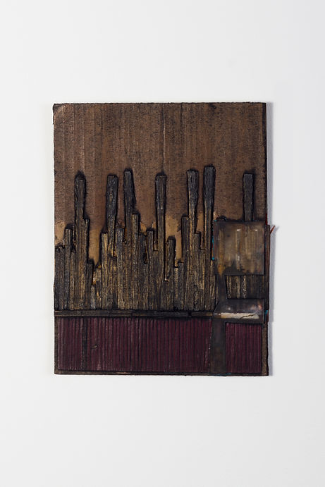 FINANCIAL STATUS series, collagraph plates consisting of ink on cardboard, matchsticks, fabric and plastic, 2010