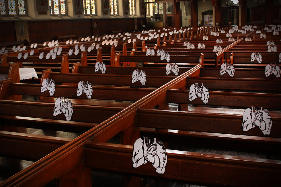 SITUATING MYSELF series, installation of lino-prints at St Walburge's Church, Preston, UK, 2012