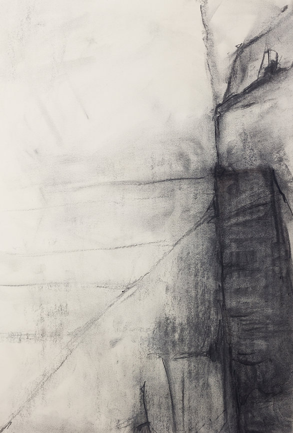 MAN ON WIRE, 42 x 29.7 cm, charcoal on paper, 2010