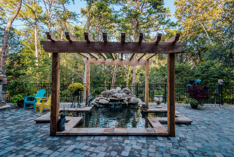 Koi Pond with Cascading Water Feature   Native Design & Hardscape