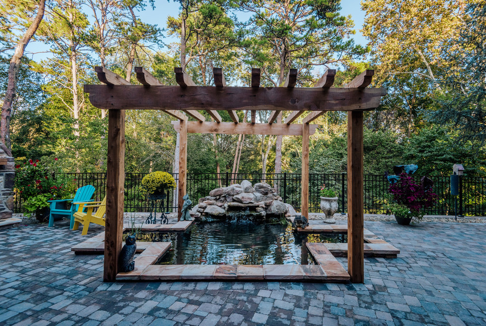 Koi Pond with Cascading Water Feature | Native Design & Hardscape