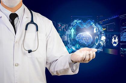 doctor holding glow hi-tech healthcare i