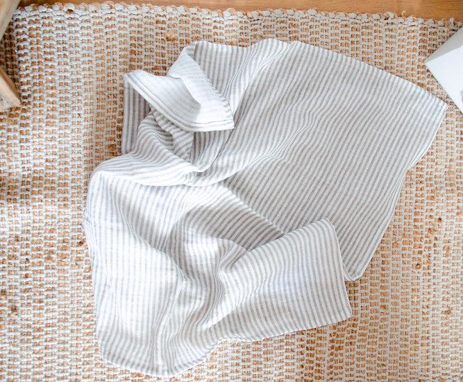 Lange biologique - Linen stripes