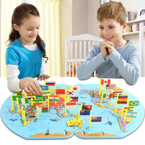 Wooden world map with flags odeez educational and learning toys wooden world map with flags gumiabroncs Gallery