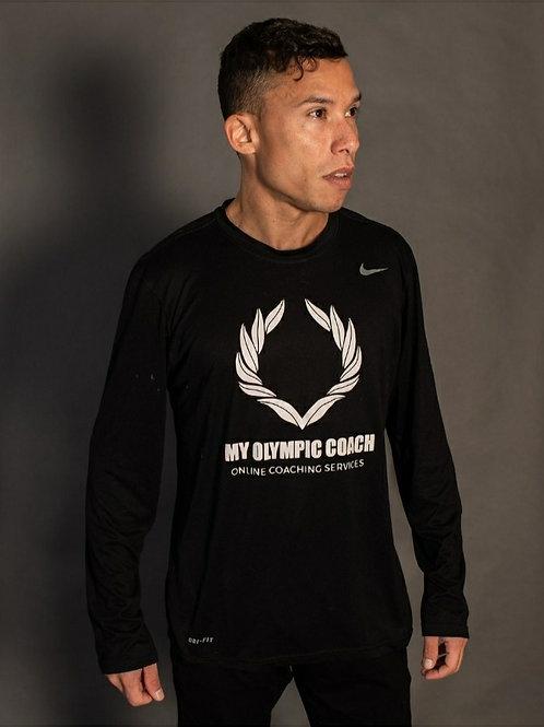 Men's Nike My Olympic Coach Black Long Sleeve Shirt.