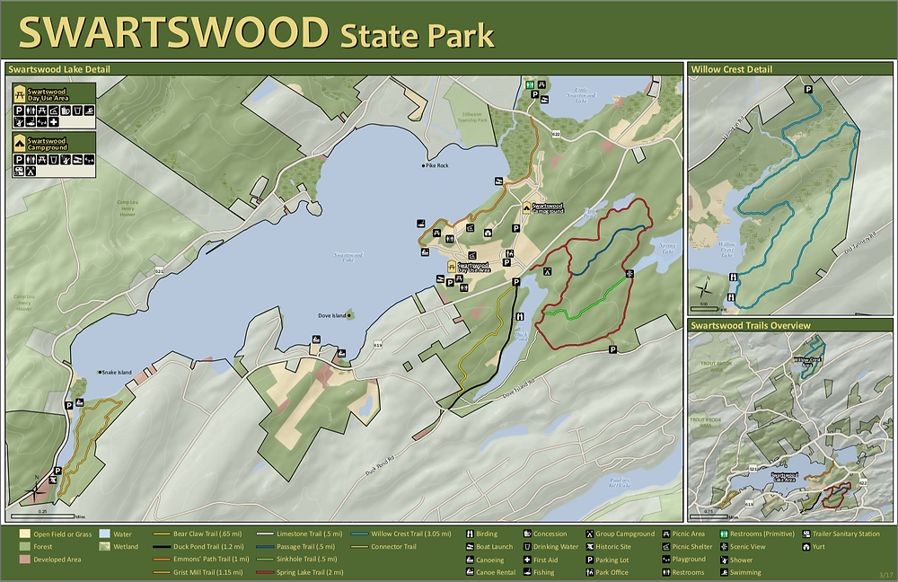 New Jersey State Park Startswood Trail Map - Best Hiking trails in new jersey