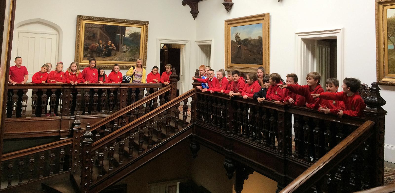 School tour on staircase