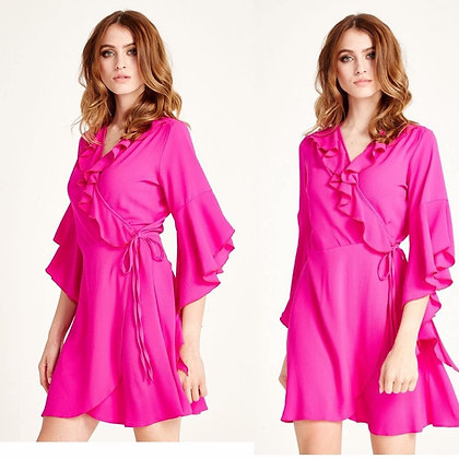 Pink Ruffle Wrap Dress