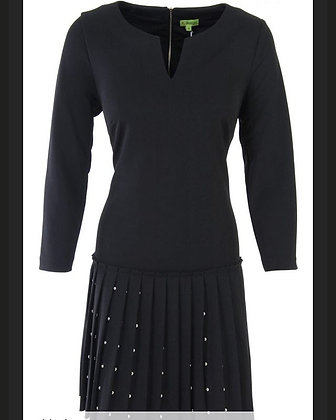 Black Pleated Stud Dress