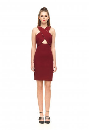 Pencil Dress with Leather Trim