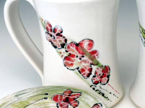 Carlson Pottery Floral Hand made Wheel thrown