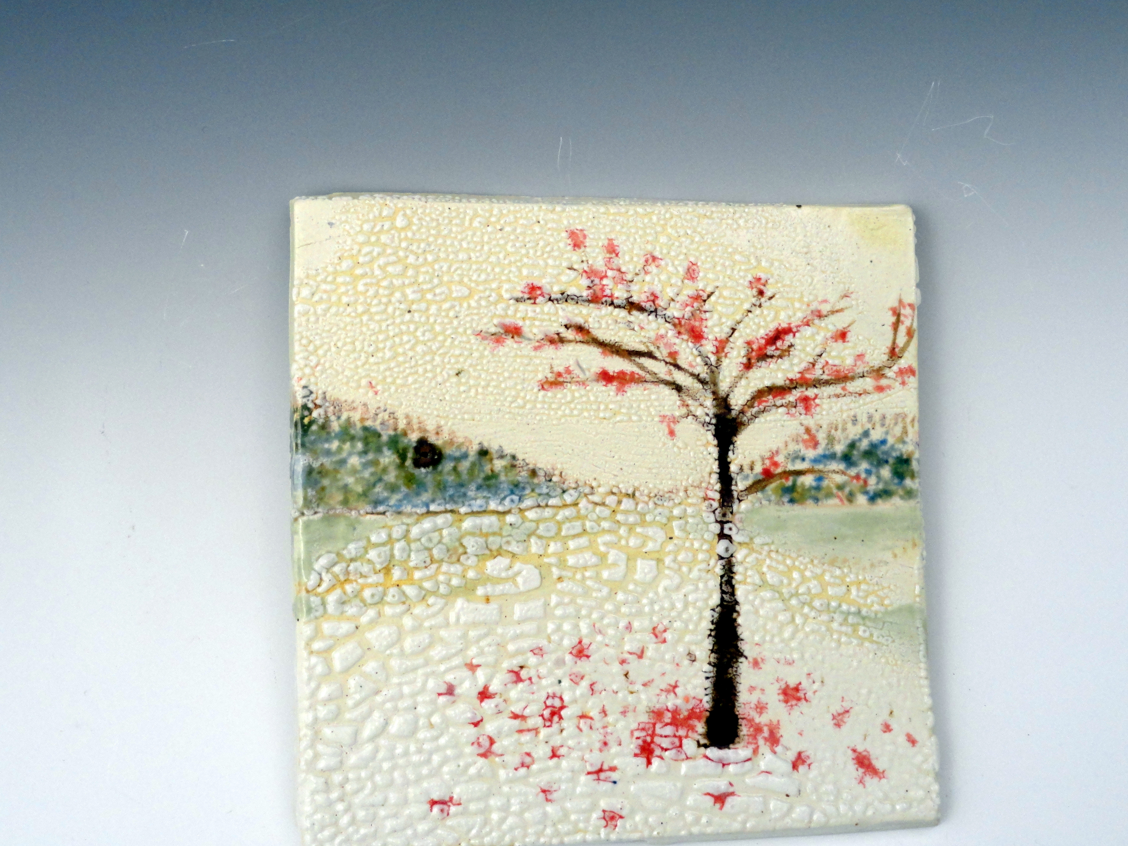 s6x6 test tile, Angel Clay with Angel crackle First snow maple tree