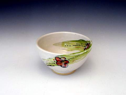 Carlson Pottery Floral Hand made Wheel thrown-009