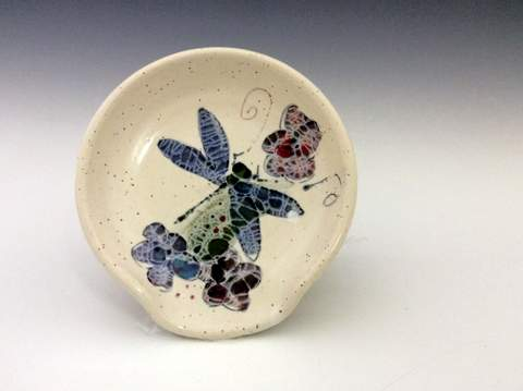 dragonfly spoonrest pottery