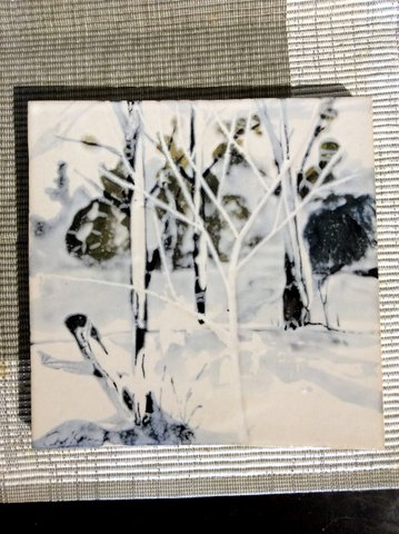 Winter tile Leanna Carlson Pottery Ceramic Hand Painted Clay-001
