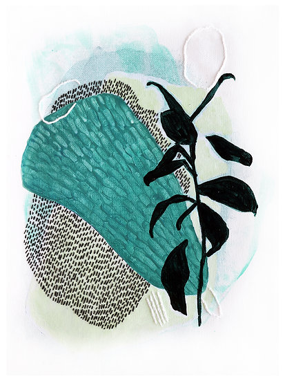 Mint + Lime Original Embroidered Painting on Canvas