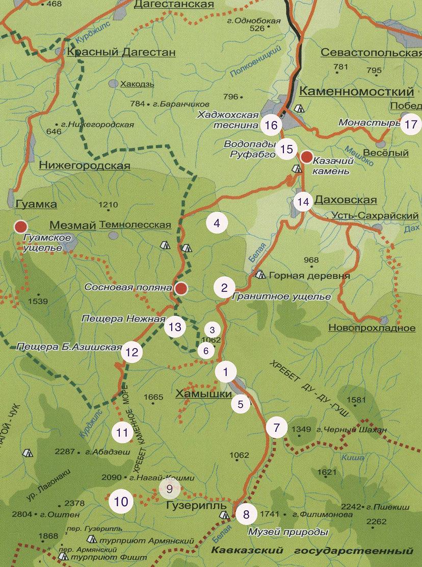 Карта достопримечательностей Адыгеи