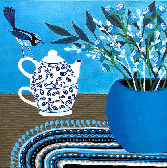 Tea Time With The Blue Wren