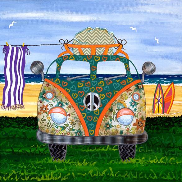 Green Hippy Van