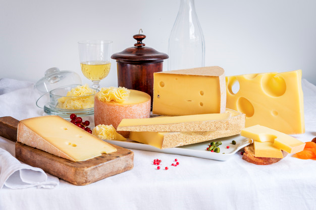A plate of Swiss cheese choices.