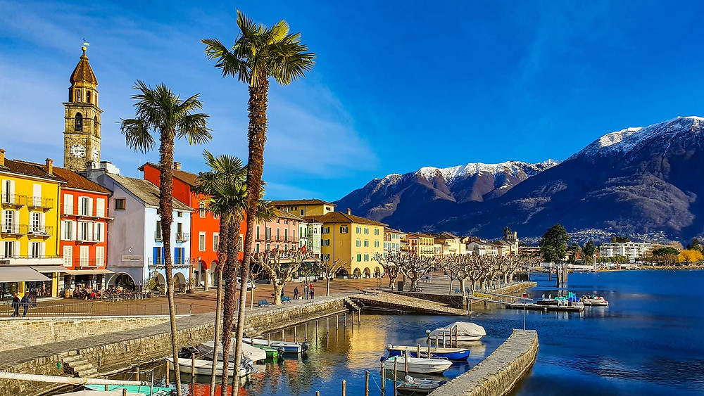Locarno in the Ticino canton in Switzerland, lake and mountains. Swissness lifestyle, travel.