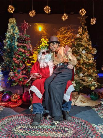 Santa on stage at Dicken's Xmas 2019