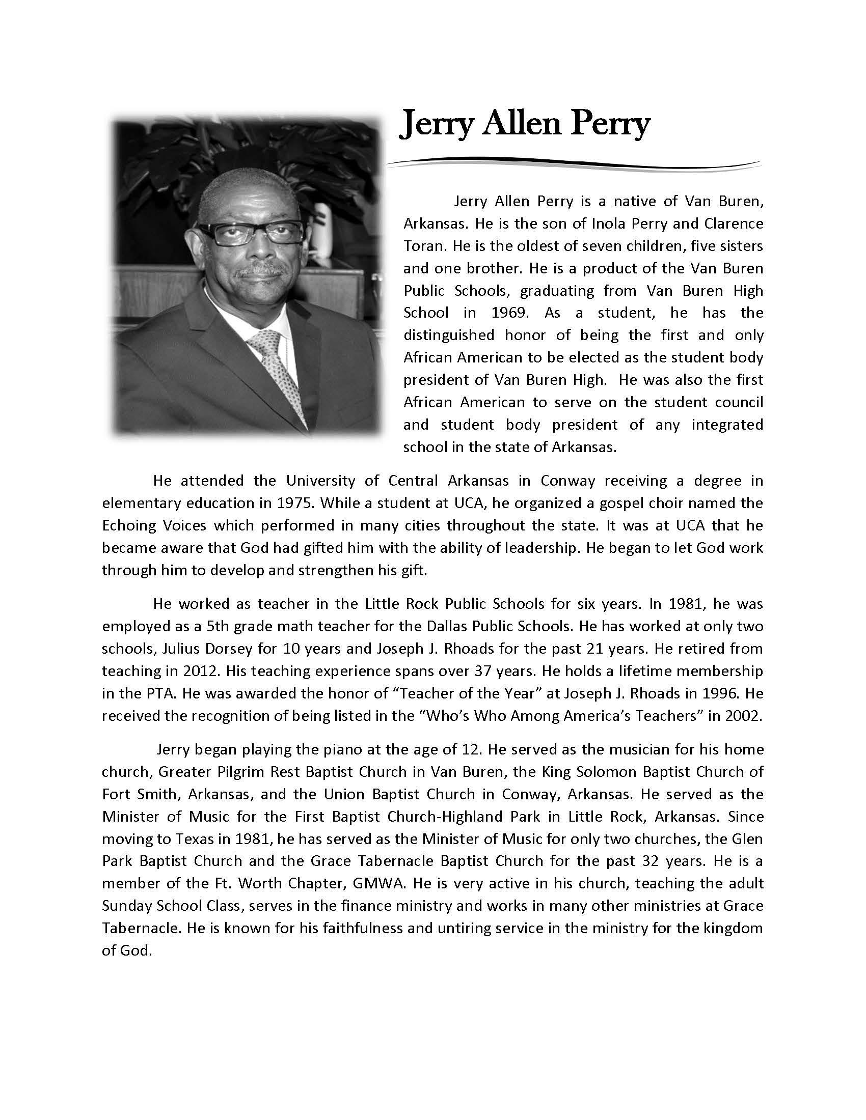 Jerry Allen Perry Bio