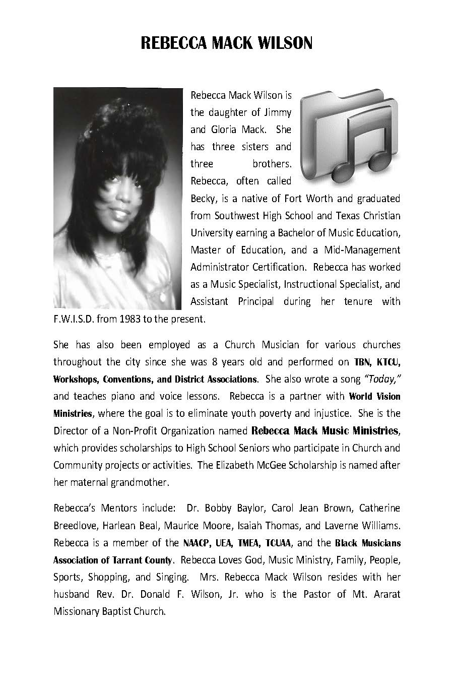 Rebecca Mack Wilson Bio