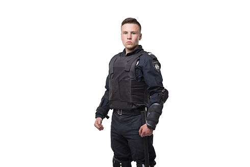 Armed police officer isolated on white b