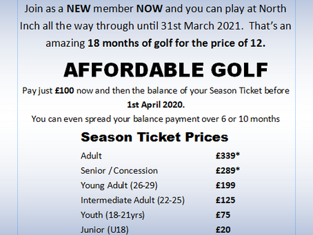 18 Months Golf for the Price of 12 Months