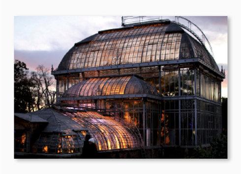 Une serre du Jardin des plantes de Nantes au couchant