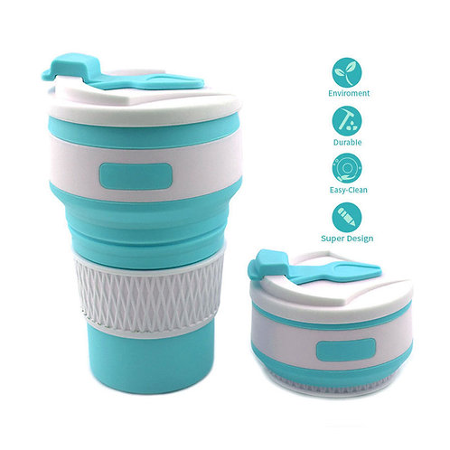 Travel reusable unbreakable drinking silicone collapsible coffee cup with lid
