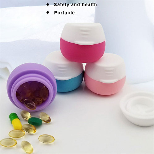 Wholesale Round Pill Container Stock Silicone Wax Jar Travel Box Set