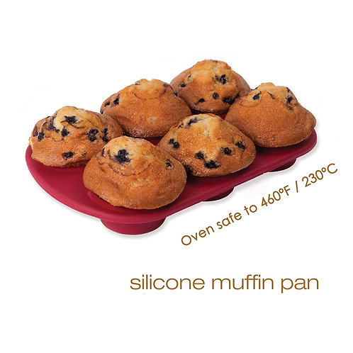 Food Grade Nonstick Round Mini 6 Cup Silicone Muffin Baking Pan