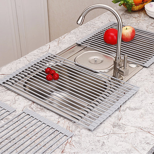 kitchen dish drying square Silicone Folding Drain Rack