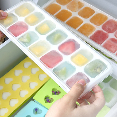 Silicone and Flexible 14-Ice Trays with Spill-Resistant Removable Lid