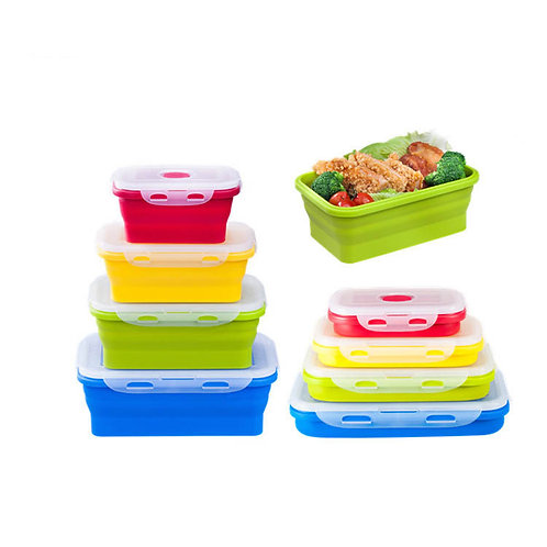 Eco-friendly collapsible silicone bento box sets