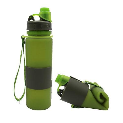 650ml/500ml Custom Logo Folding Silicone Roll Up Sports Water Bottle