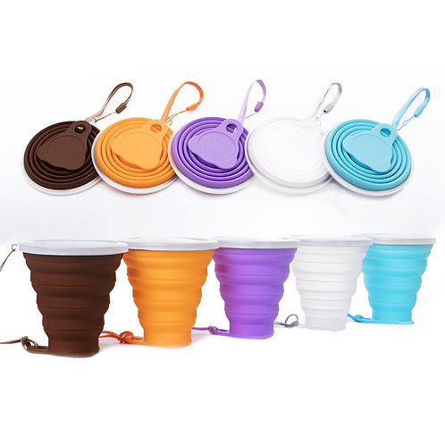 M603 BPA Free reusable coffee cup Collapsible Silicone Travel Water Cup with lid