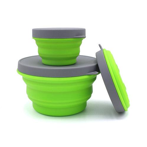 Set of 3 wholesale bpa free custom logo innovative travel foldable silicone bowl