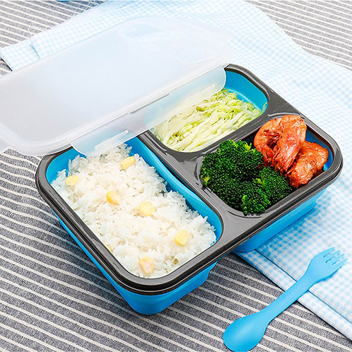 3 Compartments Collapsible silicone lunch containers