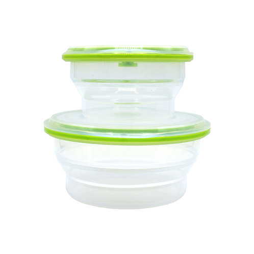 LFGB Silicone Folding Leakproof Food Container Bento Lunch Box For Fridge