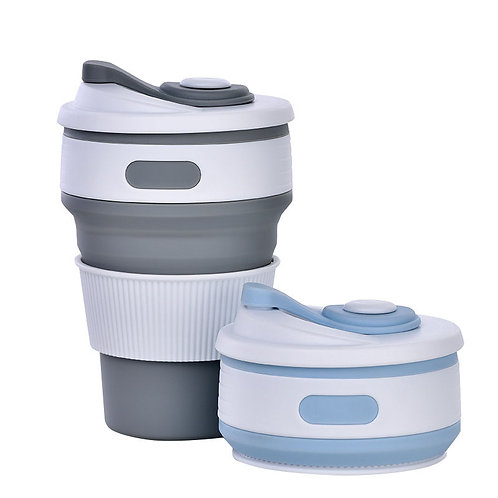 Collapsible Cup Travel -12oz Foldable Coffee Cups with Lid for Office,Travel