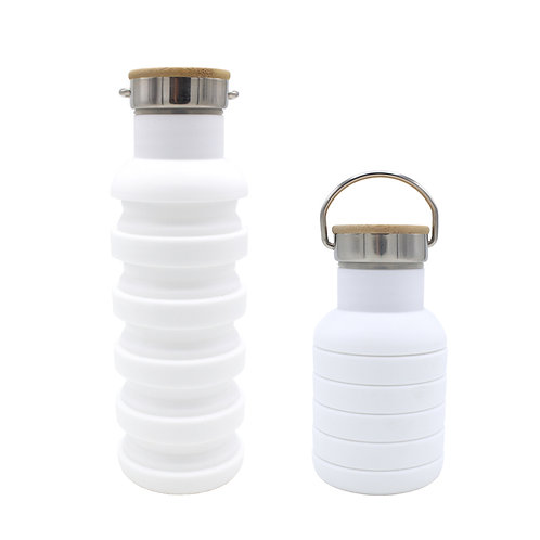 550ML Collapsible Silicone Outdoor Sport Expandable Water Bottle With wooden lid