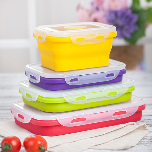 Microwave Safe Silicone Collapsible Lunch Box Food Storage Container