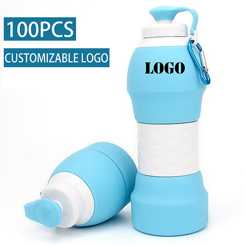 Collapsible Silicone Water Bottles for Travel Sports 19.6 Oz. - FDA Approved